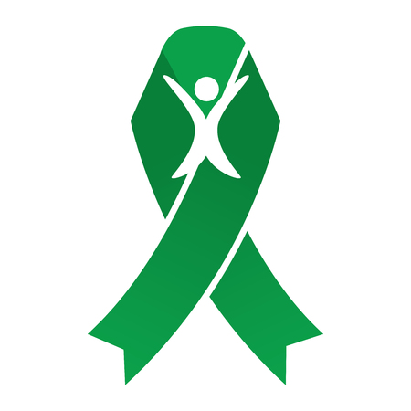 cancer ribbons: Green Person Ribbon : Breast Cancer Ribbons with Different Differing Icons in the Middle