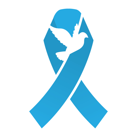 cancer ribbons: Blue Dove Ribbon : Breast Cancer Ribbons with Different Differing Icons in the Middle Illustration