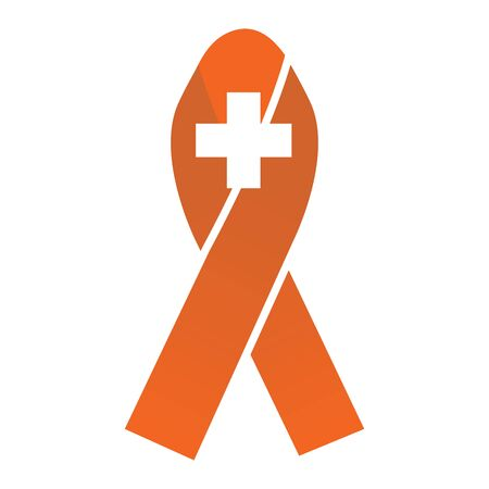 cancer ribbons: Orange Medical Symbol Breast Cancer  Ribbons with Different Differing Icons in the Middle