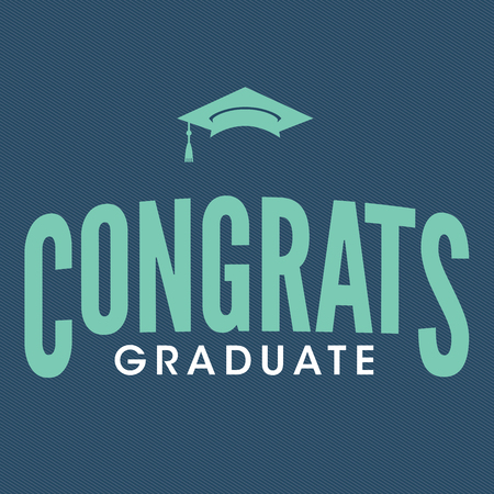 2016 Congrats or Congratulations Graduate Typography Intended for Graduating Seniors and the Class of 2016.  Graphic Can be Used for Invitations, Infographics, Tshirt Designs, Etc. Ilustração