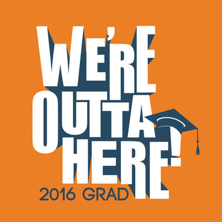lighthearted: 2016 Congrats or Congratulations Graduate Typography Intended for Graduating Seniors and the Class of 2016.  Graphic Can be Used for Invitations, Infographics, Tshirt Designs, Etc. Illustration