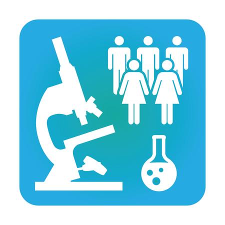 Medische icoon met People Charting ziekte of wetenschappelijke ontdekking Healthcare Stock Illustratie