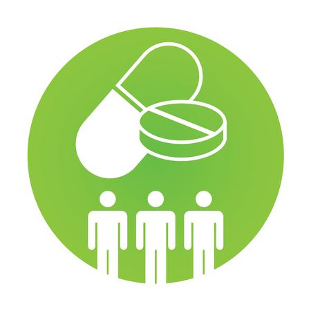 Medische icoon met People Charting ziekte of wetenschappelijke ontdekking Healthcare Vector Illustratie