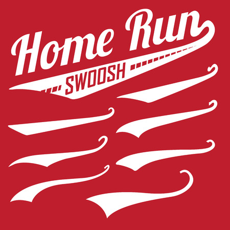 Vector Swooshes, Swishes, Whooshes, and Swashes for Typography on Retro or Vintage Baseball Tail Tee shirt Vectores