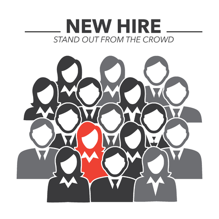 standing out: New Hire Button Portraying Different People with Men and Women in Suits and One Person Standing Out as the Person who got Hired Illustration