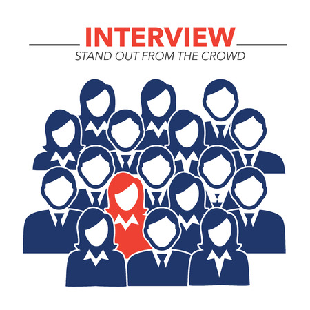 hired: New Hire Button Portraying Different People with Men and Women in Suits and One Person Standing Out as the Person who got Hired Illustration