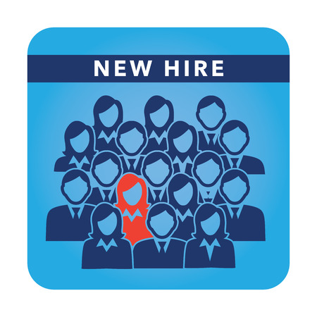 New Hire Button Portraying Different People with Men and Women in Suits and One Person Standing Out as the Person who got Hired Stock Illustratie