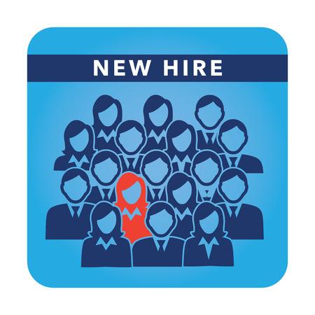 Nuevo botón Hire, que representan diferentes personas con hombres y mujeres en trajes y una persona se coloca hacia fuera como la persona que fue contratada