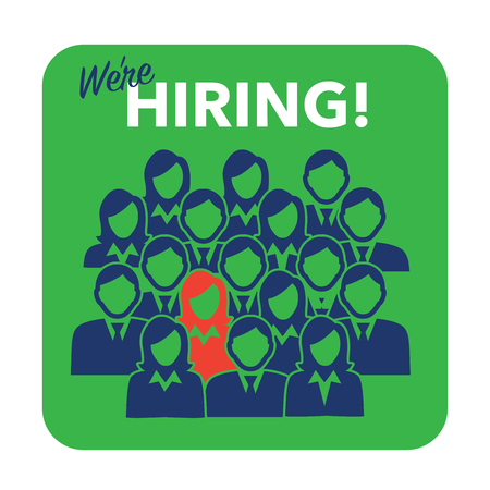 join here: New Hire Button Portraying Different People with Men and Women in Suits and One Person Standing Out as the Person who got Hired Illustration