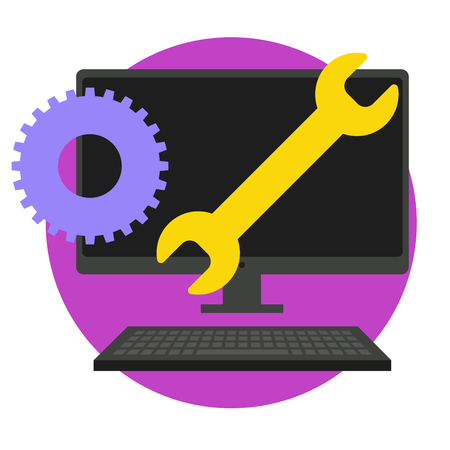 web development: Big Data Security Maintenance and Tech Icon with Wrench and Gear Tools for Technician to Use when Scanning Systems - Internet or Information Technology Repairs Illustration