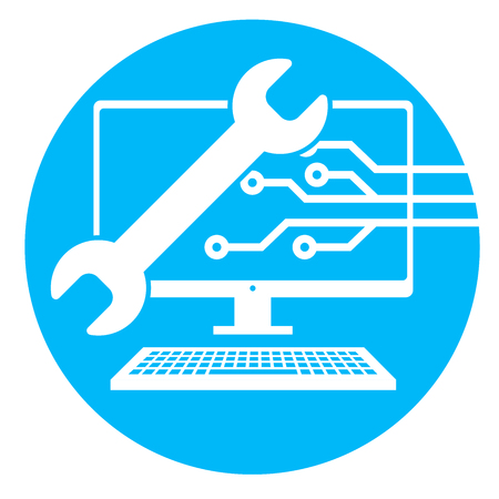 Big Data Security Maintenance and Tech Icon with Wrench and Gear Tools for Technician to Use when Scanning Systems - Internet or Information Technology Repairs Vectores