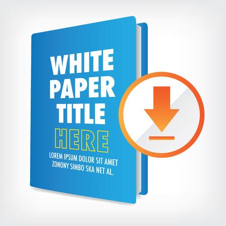 Download de Whitepaper of Ebook Graphics met Verwisselbare titel Cover, en CTA's met een oproep tot actie knoppen. Whitepapers en E-books hebben een soortgelijk doel in de Marketing World. Stockfoto - 56187308