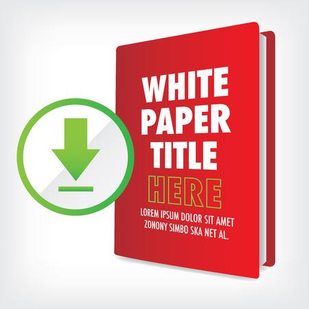 Download de Whitepaper of Ebook Graphics met Verwisselbare titel Cover, en CTA's met een oproep tot actie knoppen. Whitepapers en E-books hebben een soortgelijk doel in de Marketing World. Stock Illustratie
