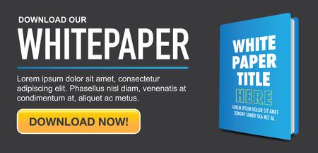 Download de Whitepaper of Ebook Graphics met Verwisselbare titel Cover, en CTA's met een oproep tot actie knoppen. Whitepapers en E-books hebben een soortgelijk doel in de Marketing World. Stockfoto - 56187646