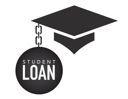 prisoner of the money: 2016 Graduate Student Loan Icons - Crippling Student Loan Graphics for Education Financial Aid or Assistance, Government Loans, and Debt Illustration