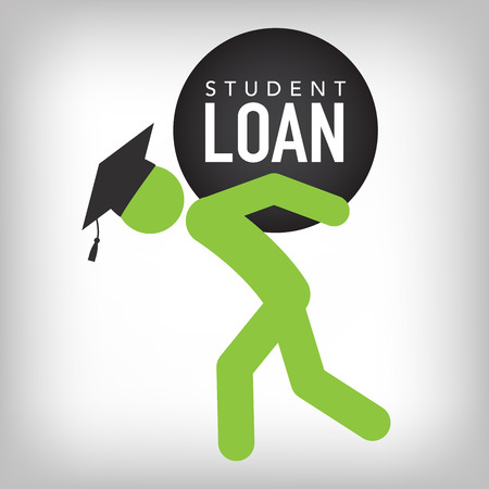 hardship: 2016 Graduate Student Loan Icons - Crippling Student Loan Graphics for Education Financial Aid or Assistance, Government Loans, and Debt Illustration
