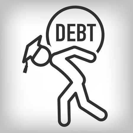 borrowing: 2016 Graduate Student Loan Icons - Crippling Student Loan Graphics for Education Financial Aid or Assistance, Government Loans, and Debt Illustration