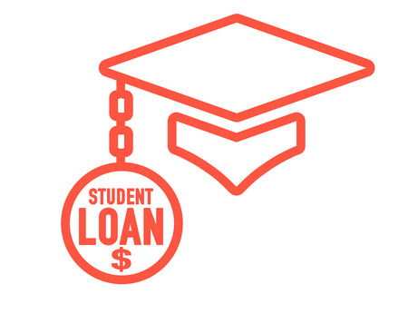 borrowing money: 2016 Graduate Student Loan Icons - Crippling Student Loan Graphics for Education Financial Aid or Assistance, Government Loans, and Debt Illustration