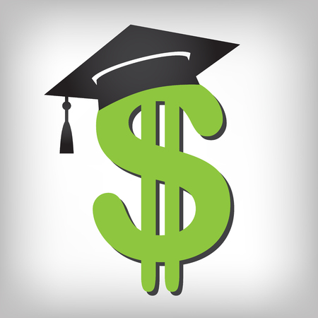 2016 Graduate Student Loan Icons - Crippling Student Loan Graphics for Education Financial Aid or Assistance, Government Loans, and Debt Stock Illustratie