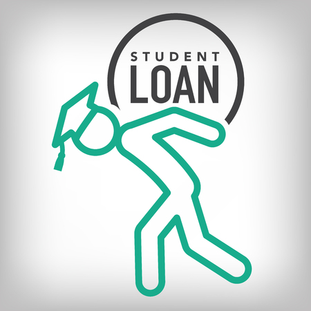 loans: 2016 Graduate Student Loan Icons - Crippling Student Loan Graphics for Education Financial Aid or Assistance, Government Loans, and Debt Illustration