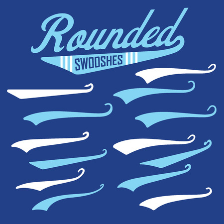 Vector Swooshes, Swishes, Whooshes, and Swashes for Typography on Retro or Vintage Baseball Tail Tee shirt 일러스트