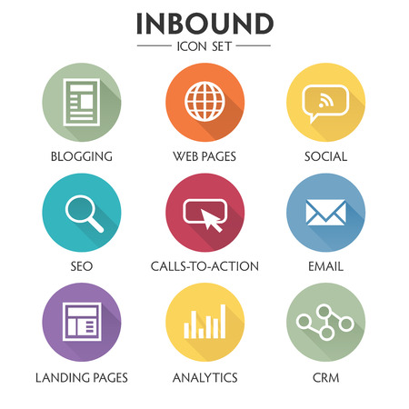 Inbound Marketing Graphic with Blogging, Web Pages, Social, Call to Action or CTA, email, landing page, analytics or reporting, and CRM vector icons Vectores