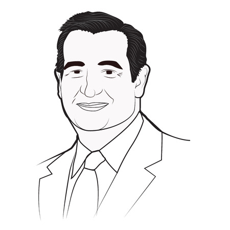 ted: Ted Cruz 2016 Republican Presidential Candidate or Nominee Celebrity Caricature Editorial Use Only