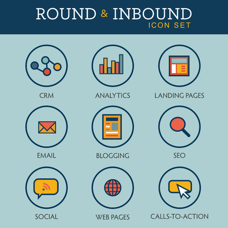 the reporting: Inbound Marketing Graphic with Blogging, Web Pages, Social, Call to Action or CTA, email, landing page, analytics or reporting, and CRM vector icons Illustration