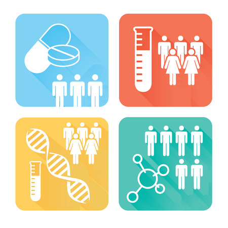 1/2 Square Science Science Medical Healthcare Icons with People Charting Disease or Scientific Discovery
