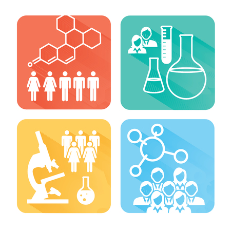 12 Square Science Science Medical Healthcare Icons with People Charting Disease or Scientific Discovery