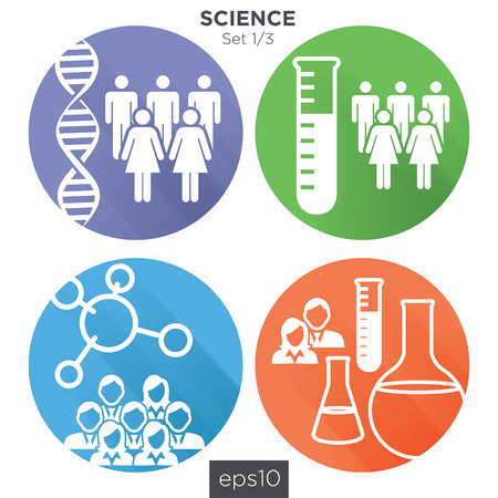 science scientific: 13 Round Science Medical Healthcare Icons with People Charting Disease or Scientific Discovery