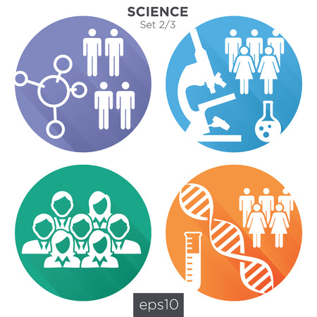 23 Round Science Medical Healthcare Icons with People Charting Disease or Scientific Discovery Illustration