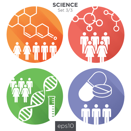 33 Round Science Medical Healthcare Icons with People Charting Disease or Scientific Discovery