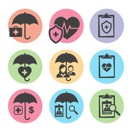insured: Medical Healthcare Insurance Icons with People Figures and Heart, EKG, and Insured Symbols