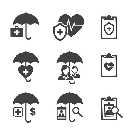 medical bill: Medical Healthcare Insurance Icons with People Figures and Heart, EKG, and Insured Symbols