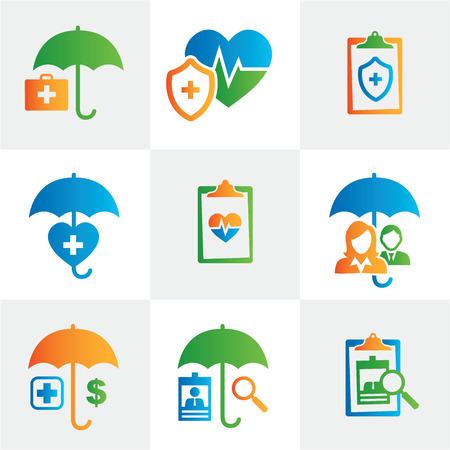 market place: Medical Healthcare Insurance Icons with People Figures and Heart, EKG, and Insured Symbols