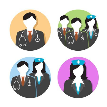 market place: Medical Healthcare Doctor and Nurse Icons with People Figures and Stethoscopes, Nurses Hats, and Scrubs