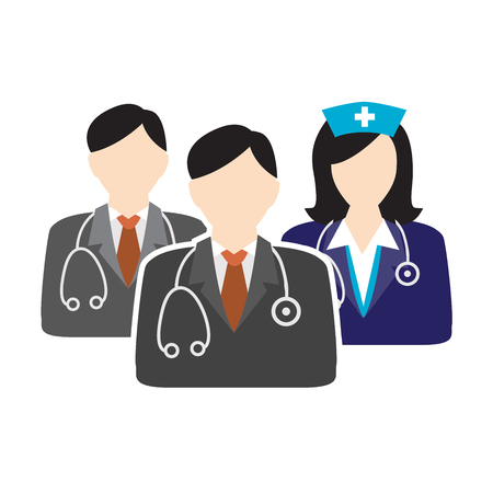 scrubs: Medical Healthcare Doctor and Nurse Icons with People Figures and Stethoscopes, Nurses Hats, and Scrubs