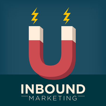 Inbound Marketing Graphic with Magnet Attracting People Using Pull Marketing Techniques