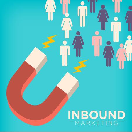 Inbound Marketing gráfica con el imán que atrae Figuras del palillo el uso de técnicas de extracción de Marketing