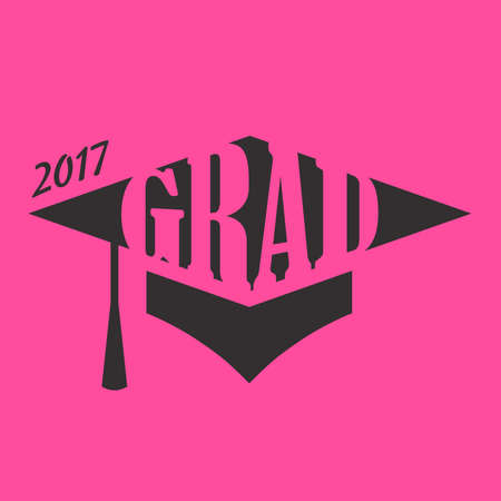 lets party: 2017 Congrats or Congratulations Graduate Typography Intended for Graduating Seniors and the Class of 2017.  Graphic Can be Used for Invitations, Infographics, Tee shirt Designs, Etc. Illustration