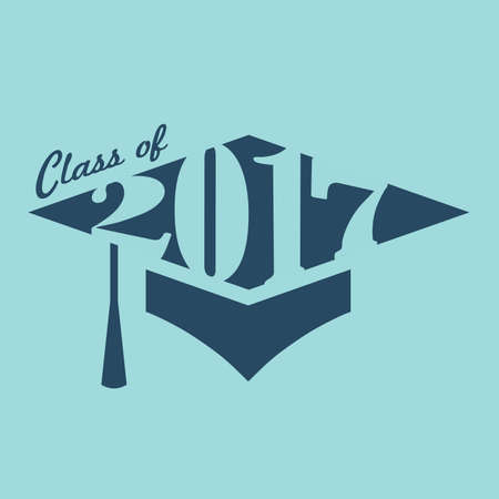 school class: 2017 Congrats or Congratulations Graduate Typography Intended for Graduating Seniors and the Class of 2017.  Graphic Can be Used for Invitations, Infographics, Tee shirt Designs, Etc. Illustration
