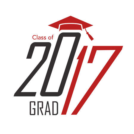 graduating: 2017 Congrats or Congratulations Graduate Typography Intended for Graduating Seniors and the Class of 2017.  Graphic Can be Used for Invitations, Infographics, Tee shirt Designs, Etc. Illustration