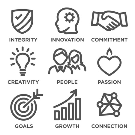 core: Company Core Values Outline Icons for Websites or Infographics
