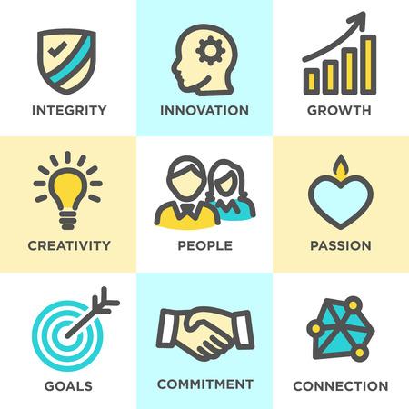 Podstawowe wartości firmy Outline ikony na stronach internetowych lub infografiki Ilustracje wektorowe