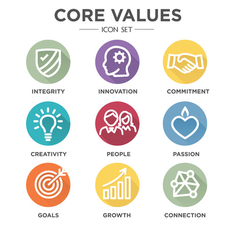 follow through: Company Core Values Outline Icons for Websites or Infographics