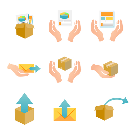 deliverable: Marketing Company Digital Products Icons with Collateral and Packing Boxes