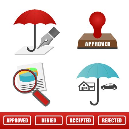 household accident: insurance; umbrella; underwrite; icon; Illustration