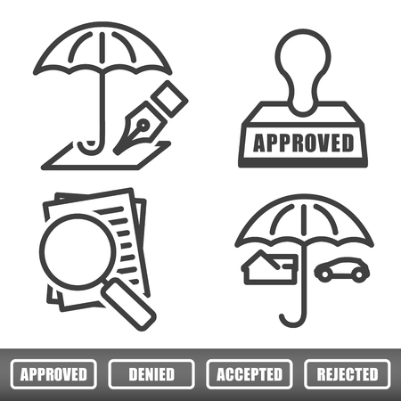 insurance; umbrella; underwrite; icon; stamp; approved; denied; rejected; magnifying; glass; mortgage; appraisal; home; house; claim; cover; coverage; outline; legal; isolated; underwriting; loss; adversity; contract; accident; loan; disaster; indemnify;