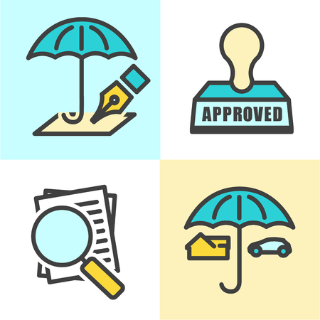 coverage: insurance; umbrella; underwrite; icon; stamp; approved; denied; rejected; magnifying; glass; mortgage; appraisal; home; house; claim; cover; coverage; outline; legal; isolated; underwriting; loss; adversity; contract; accident; loan; disaster; indemnify;